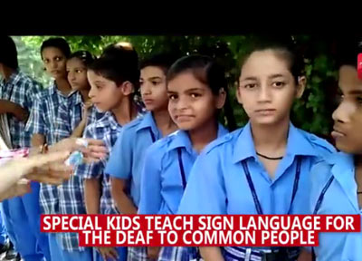 Special kids teach sign language to people as part of awareness drive